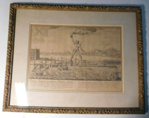 "Antique Engraving ,""The Colossus Of Rhodes"" by  Johann Bernhard Fischer , 1721"