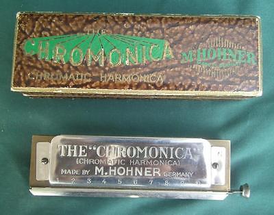 ANTIQUE M HOHNER CHROMONICA HARMONICA  KEY OF G + ORIGINAL BOX GERMANY