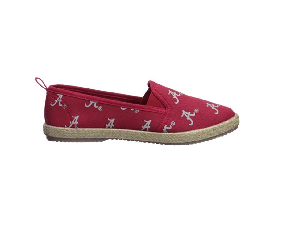 FOCO NCAA Women's Alabama Crimson Tide Espadrille Canvas Slip On Shoe 1