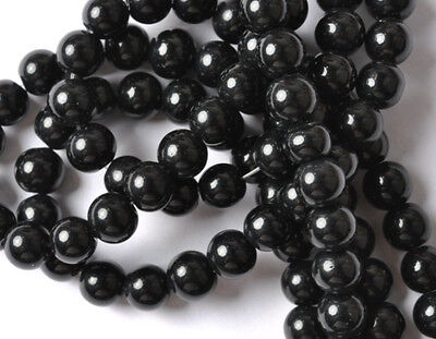50PCS Black Glass pearl Spacer Beads 6MM JK0342