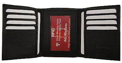 Mens Trifold Genuine Leather RFID Blocking Wallet Black New AG Wallets