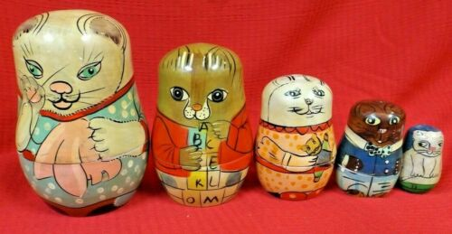RUSSIAN NESTING CAT DOLLS - SET of 5 - NEVER DISPLAYED - HANDPAINTED