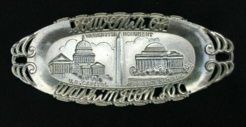 Vintage  Washington DC Souvenir SMALL SILVER metal Tray  MONUMENT CAPITOL