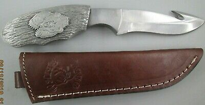 bear hunter custom made bark texture knife handle with white deer blade & sheath Pewter Custom Blade
