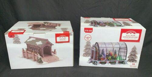 (Lot of 2) Holiday Time Christmas Village Greenhouse & Bridge Decorations