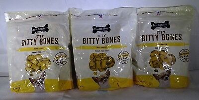 Pack of 3 Three Dog Bakery Itty Bitty Bones Baked Dog Treats with Cheese 32oz T2