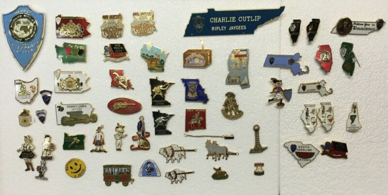 Huge Vintage Collection Lot Of 40 + Mixed Jaycees Pins #4