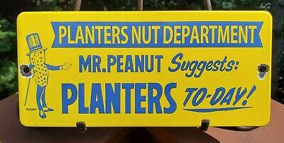 "VINTAGE ""PLANTERS MR. PEANUT NUT DEPARTMENT"" 9.5"" PORCELAIN METAL DOOR PUSH SIGN"
