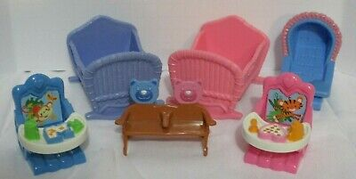 Used, Fisher Price Loving Family Dollhouse Lot Baby Cribs Booster Seats & More  for sale  Shipping to India