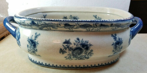 """Old Antique Ironstone China Co 16"""" Wash Basin Bowl Brown Floral"""