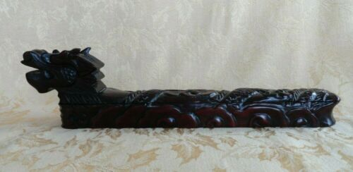 CHINESE FOUR PAIR CHOPSTICKS IN WOOD INLAID CARVED DRAGON BOX FAMILY HAPPINESS