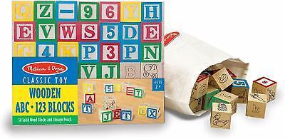 Melissa & Doug Deluxe Wooden ABC/123 Blocks Set (Developmental Toys, Storage)