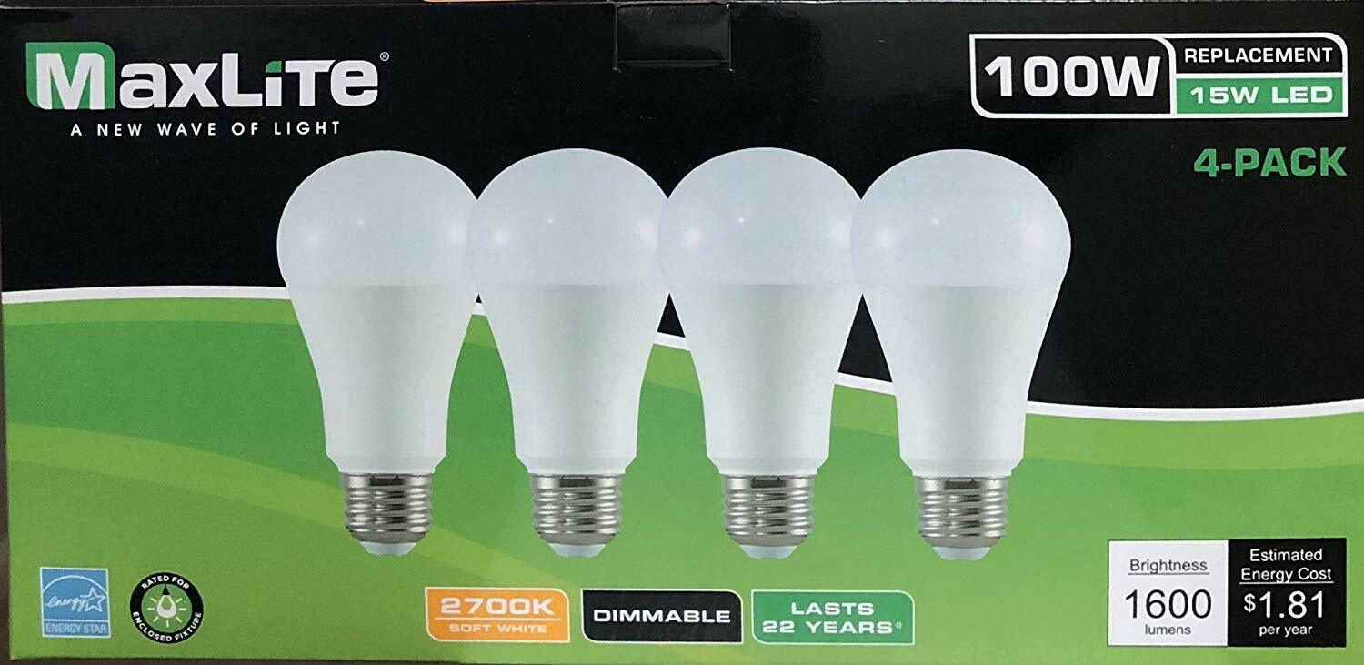 4 Light Bulbs 15W LED  100W Replacement CLF Bulb Soft White