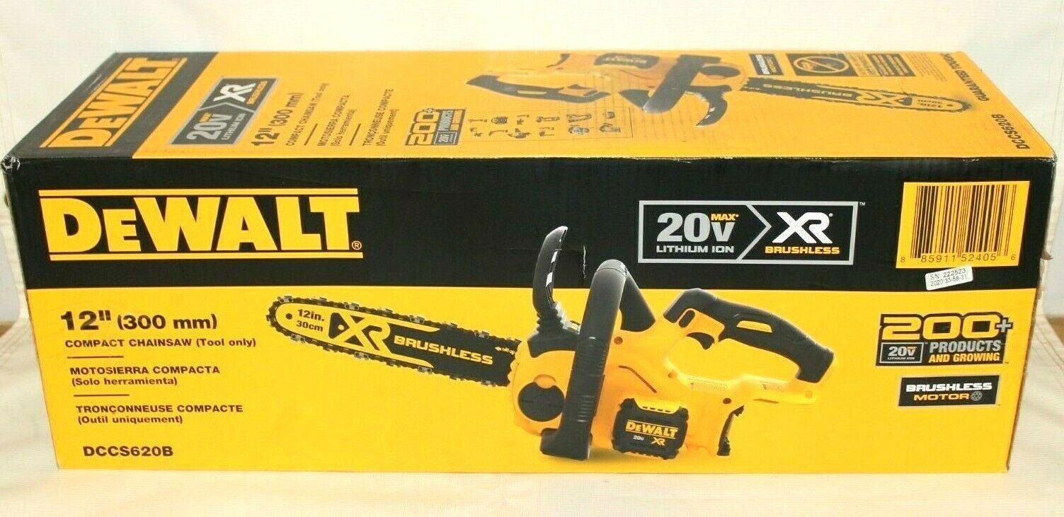 "DEWALT DCCS620B 20V MAX XR Compact 12"" Cordless Chainsaw Onl"