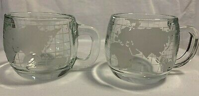 Vintage Set of 2 Nestle Nescafe World Globe Etched Glass Coffee Cups~Look New!