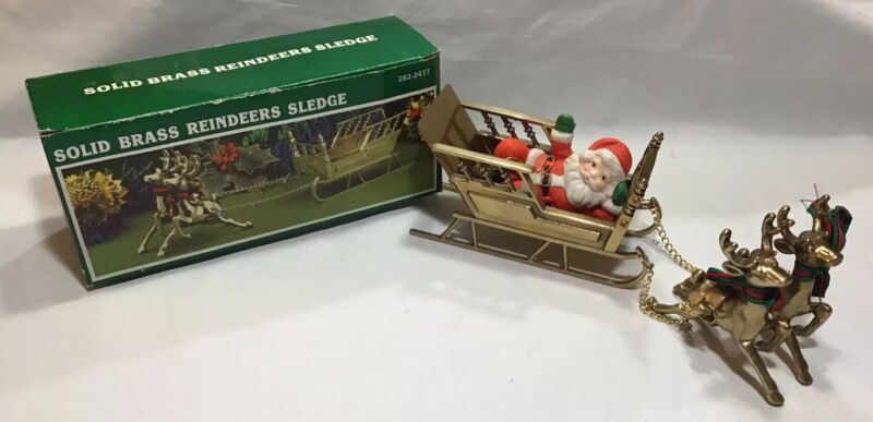 Vintage Brass Santa Sled And Reindeer Sleigh In Box Solid Brass 282-2477