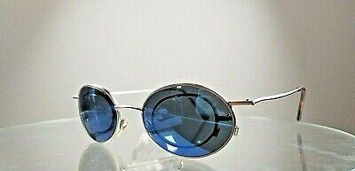 Vintage sunglasses steampunk Christian Roth series silver w blue mirror lenses