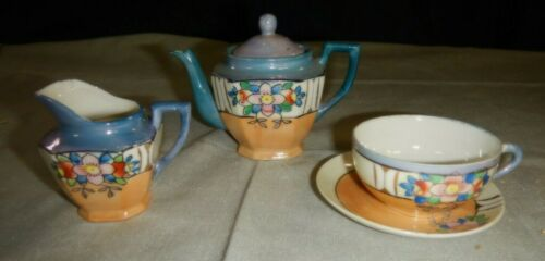 Vintage Small Lusterware Teapot, Creamer & Matching Cup Set for One Japan