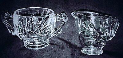 Vintage Indiana Pressed Glass Sugar & Creamer Set Willow Leaf Pattern