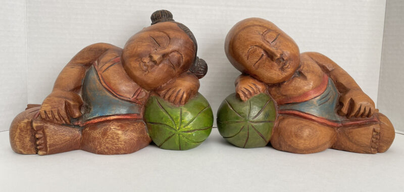 Chinese Boy Girl Children GOOD LUCK Sleeping Watermelon Wood Sculpture Figurine