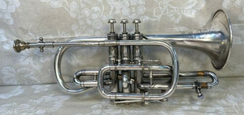 C G Conn Silver Cornet 1902 The Wunder Model w/ Case, Mouthpiece and Baffle