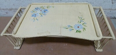 Vintage Wood Yellow Painted Bed Serving Tray Book Magazine Shabby Chic