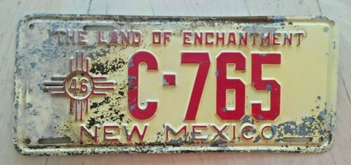 "1946 NEW MEXICO LICENSE PLATE "" C 765 ""  NM 46 ORIGINAL CONDITION"