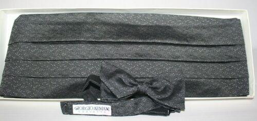 Giorgio Armani Silk Cummerbund & Bow Tie Black