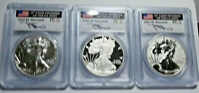 2011 American Eagle 25th Anniversary Silver Set 5 Coins Signed by MERCANT PCGS