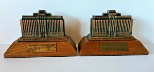 2 VINTAGE PRESENTATION BOOKENDS BANKERS LIFE COMPANY BUILDING - DES MOINES -1940