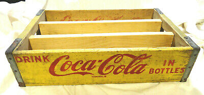 RARE Vintage Yellow 1966 WOODEN COCA-COLA / COKE HOLDER CASE / CRATE