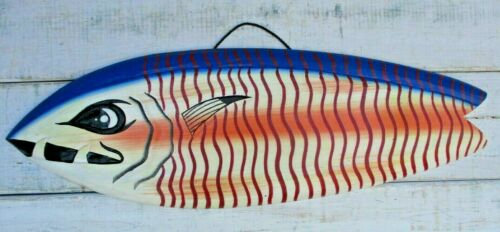 FISH WOOD SIGN ISLAND FISHING DECOR NAUTICAL HAND CARVED PAINTED BEACH HOUSE
