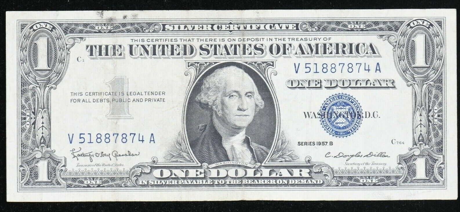 Series 1957 B Blue Seal One Dollar Silver Certificate Wash. DC 99c NO RESERVE  - $3.01