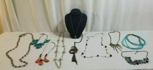 10 Piece NECKLACES Costume Jewelry Lot STATEMENT, Turqoise, Flapper, Dog Paw# 32