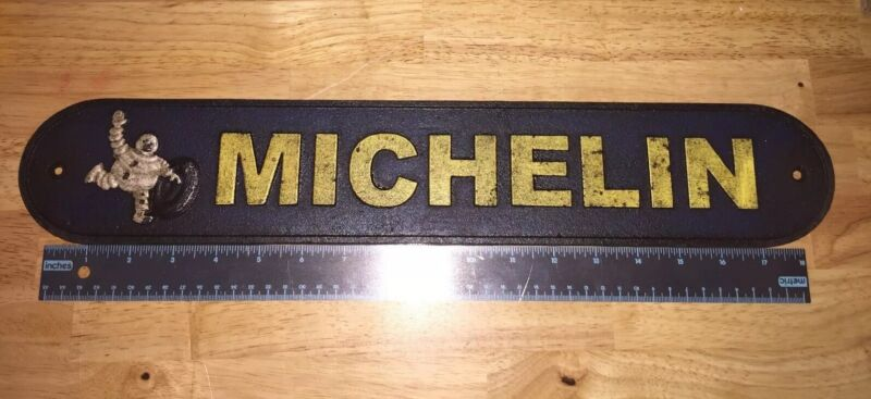 "Michelin Man Tires Garage Cast Iron Sign 20"" Patina Harley Sinclair Texaco Ford"