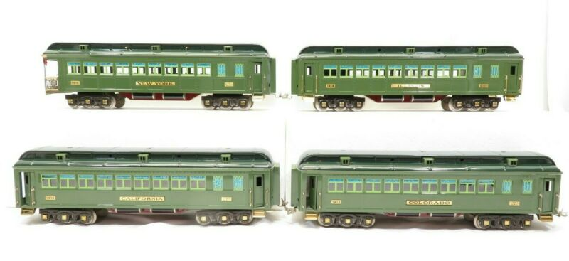 Lionel 6-13404 Standard Gauge Classics Two Tone Green State Pass Set of 4 LN