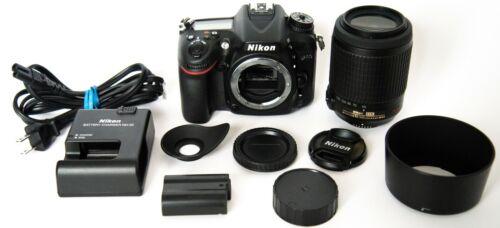 Lot of Near Mint Nikon D7100 24.1MP DSLR Camera Body w/ lens kit 55-200mm VR DX