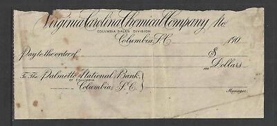 190X Palmetto National Bank Virginia Carolina Chemical Columbia Sc Antique Check