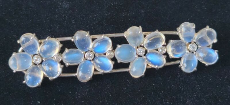 Moonstone Diamond Palladium Flower Brooch Antique Vintage-Estate Jewelry 17.8gm