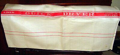 Large Unused Vintage Irish linen tea towel ~ Quick dryer cloth Turkey red