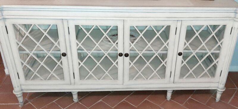 Sideboard Cabinet with Glass Doors - White Modern Farm Buffet - Showroom Model