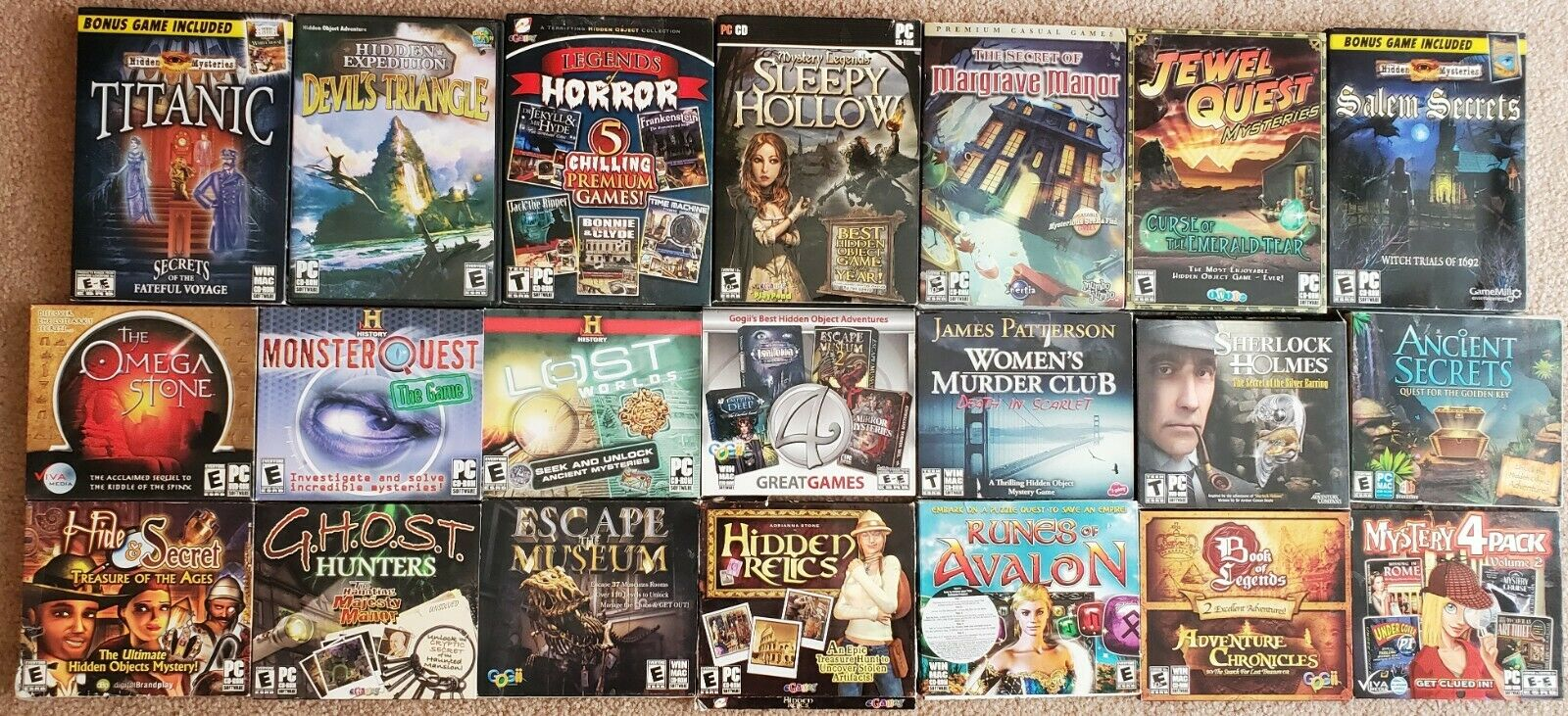 Computer Games -  Lot of 21 PC Computer Games Adventures / Hidden Objects / Mysteries etc