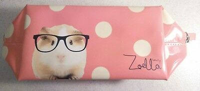 Pre-Owned Zoella Beauty Pink Makeup Bag With White Polka Dots/Cute Guinea Pig