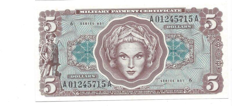 MPC Series 651  5 Dollars  GEM  UNC Crisp!!