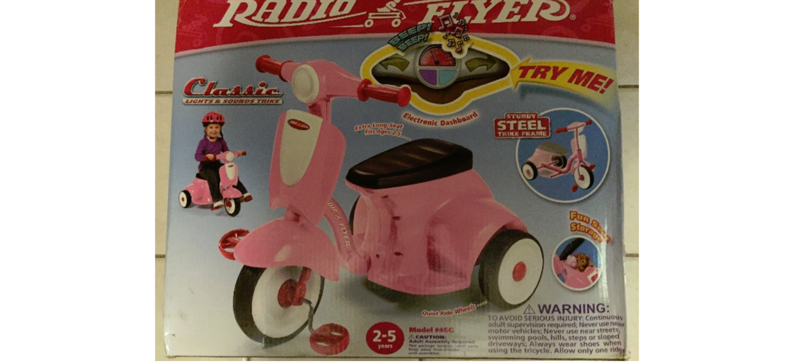 Radio Flyer Classic Pink Dual Deck Tricycle  Retro Model#46c (New - 109.65 USD)
