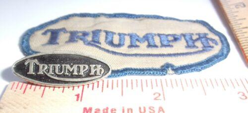 vintage Triumph pin patch set collectible old British motorcycle memorabilia