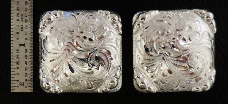 """2 - 1 3/4"""" Square Silver Hand Engraved Conchos w/Graduated Beads"""
