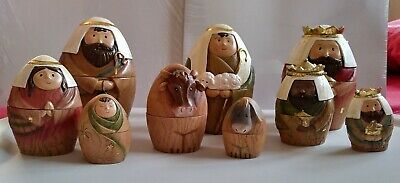 NEW ROMAN 9-PC NATIVITY NESTING STACKING (ONE SET INSIDE OTHER) DOLLS EMBOSSED