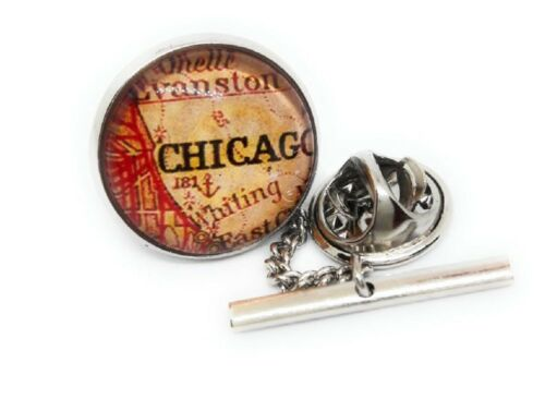 CHICAGO VINTAGE MAP TIE TACK / LAPEL PIN