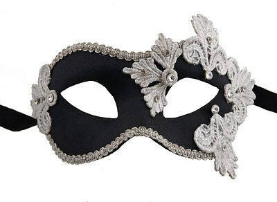 Mask from Venice Colombine Macrame Black Silver Satin and Paper Mache 2120-V43